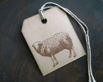 "Ewe are beautiful, sheep stamp gift tags, primitive, rustic, hand stamped gift tags, sized 2 1/2"" x 2 1/8"", set of 12."