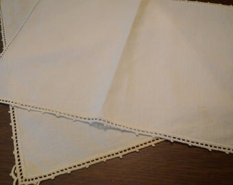 Vintage White Table Linens- Set of 2
