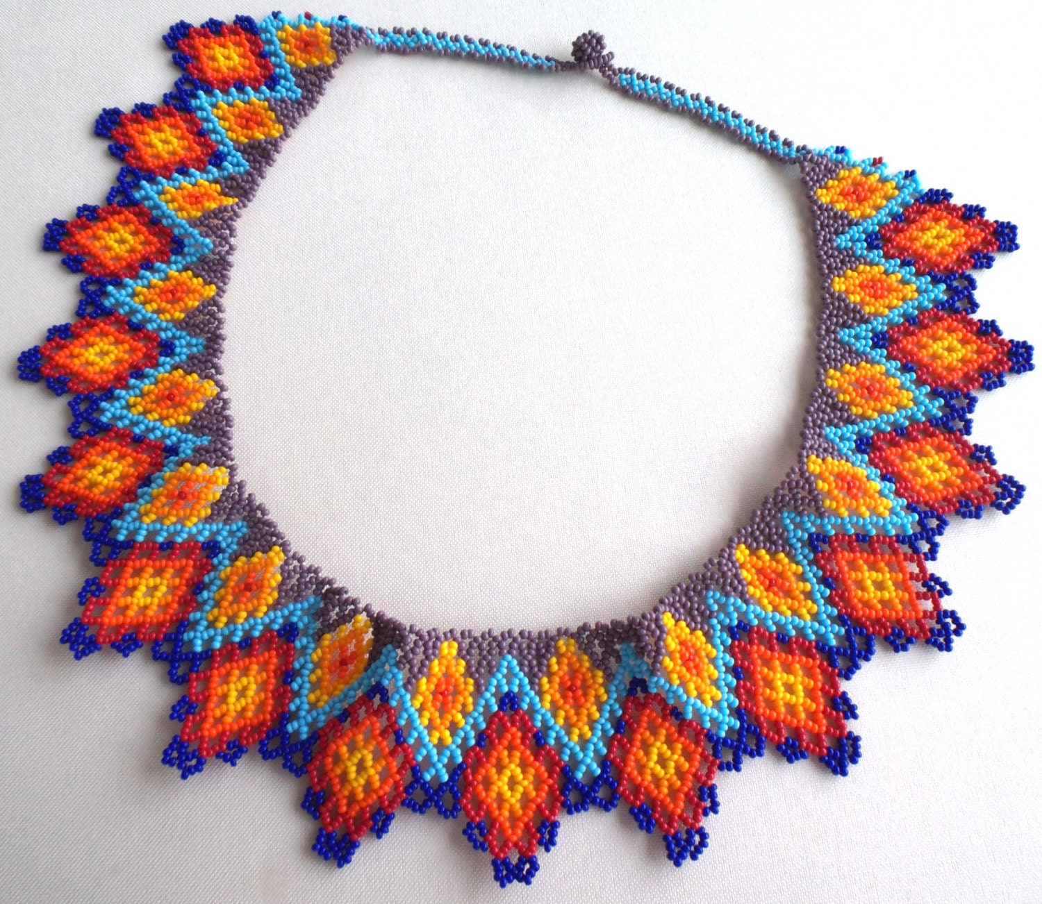 Beads Necklace Beads: Mexican Huichol Beaded Necklace / Choker