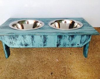 med dog bowls in holder