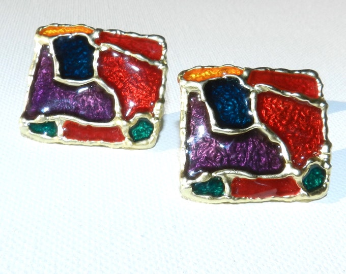 Multicolored Painted Button Earrings, Abstract Mod Earrings, Vintage Jewelry, 90s Couture Jewelry, Costume Jewelry