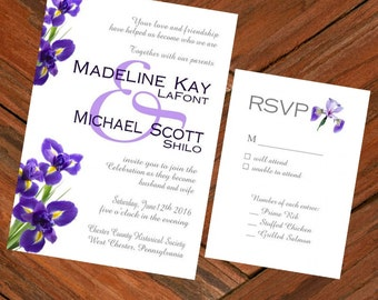 Wedding Invitation & RSVP Card Purple Iris