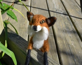 Needle Felted Fox, Red Fox, Wildlife Collectible, Felted Wildlife, Kit Fox