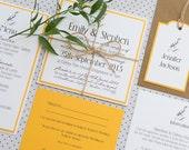 SAMPLE PACK Bird Print Yellow Rustic Twine Wedding Invitations