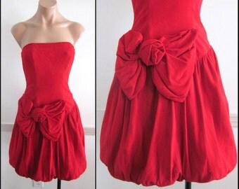 VAKKO Suede Dress / fits XS / 80s Vakko Dress / Red Suede Dress / Suede Bubble Dress / Vintage Bubble Dress / 1980s Suede Party Dress