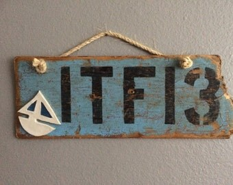 Driftwood and Pottery Boat License Wall Art
