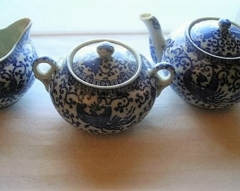 Vintage Flying Turkey Tea Assortment|Flying Turkey Tea Set|Phoenix Bird Teapot|Sugar and Creamer|Blue and White|Made in Japan