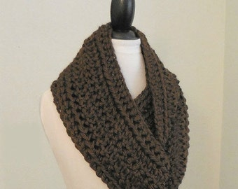 SALE DARK BROWN Infinity Scarf Cowl Extra Long Knit Chunky Infiniti Scarf Hand Made Crochet Brown Circle Scarf Gift Idea