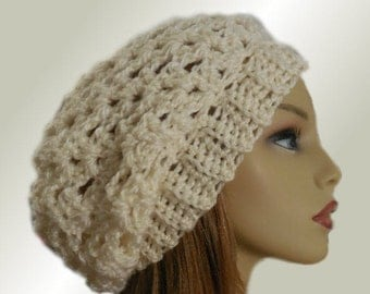 CREAM SLOUCHY Beanie Hat Crochet Knit Wool Almost White Cream Slouchy Beanie Slouch Beany Vanilla Women Hat Teen Gifts for Her Ready to Ship
