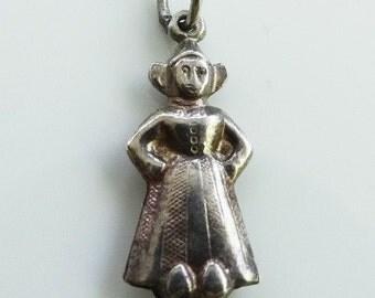 Vintage English Dutch Maiden Silver Novelty Charm FREE POSTAGE