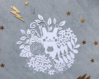 Hand Cut Pikachu Fan Art - Original Pokemon Scherenschnitte - Papercut Pikachu