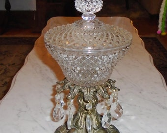 Vintage Diamond Point Glass Compote on Metal Footed Base w Hanging Crystal Prisms