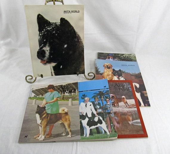 Akita World Vintage Magazine Back Issue 1986/1987 Dog Lover's Vintage Retro Lot of 6 - Six Magazines