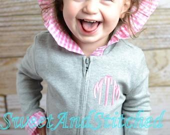 Monogrammed Girls Jacket, Monogrammed zip up hoodie, Monogrammed sweatshirt or pullover - Girls fall jacket, Monogrammed hooded sweater