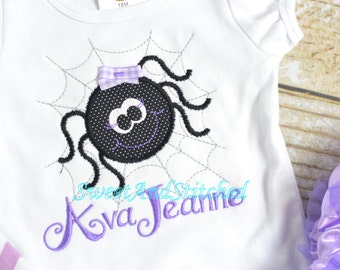 Girls Halloween Shirt or Tee personalized, girl spider tee, girls Halloween shirt - embroidered girly spider shirt - purple