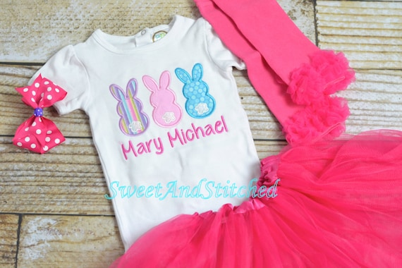 Girls Easter Shirt personalized (or outfit), Monogrammed girls Easter outfit, Embroidered girls Easter Bunny Shirt with monogram,