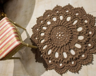 """Brown doily rug, round area rug (46 in), crochet rug, yarn lace mat, cottage nursery carpet, rustic floor decor by LaceMats """"LaceBallerina"""""""