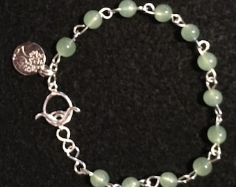 Bracelet: Jade and Sterling Silver with Tree of Life Charm