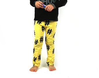 ORGANIC Gender neutral leggings - Yellow and black hashtags - Urban baby and toddler - READY to SHIP