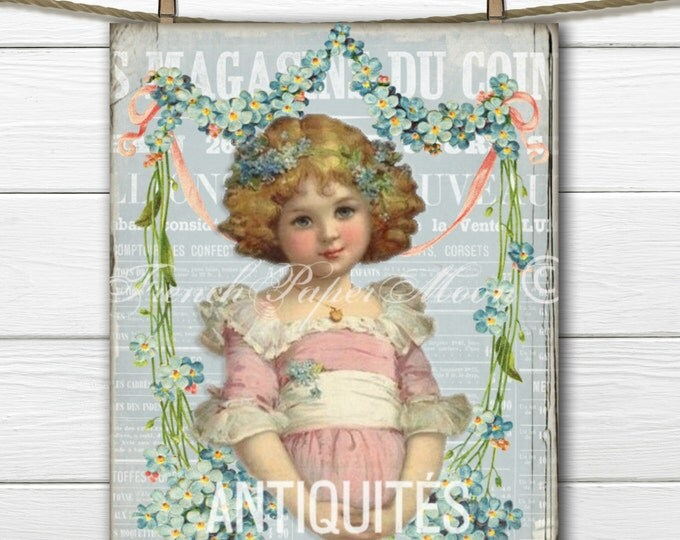 Shabby Victorian Girl French Download, Digital Forget-Me-Not Flower Collage, French Pillow Transfer Image