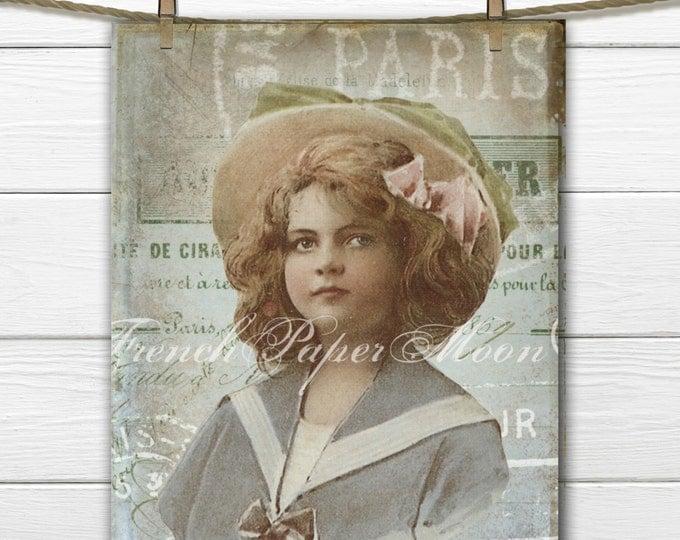 Shabby Chic Digital Victorian Girl, French Ephemera Printable, French Fabric Transfer Image