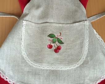 Linen Full Apron Embroidery Linen Lace Cherry Grey Girls