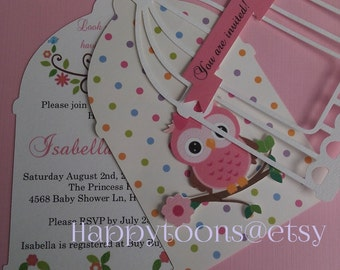 Beautiful babyshower Owl invitations