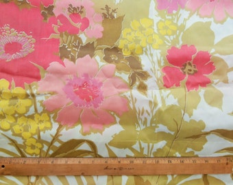 """Vintage, Large Floral Print, Fabric, Synthetic, Acetate, 43"""" x 158"""", Over Four Yards, Draperies Material"""