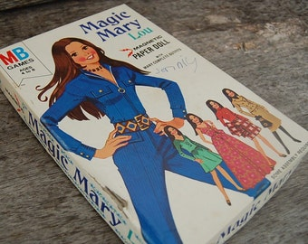 1972 Magic Mary Lou Magnetic Paper Doll set by Milton Bradley  - in original box