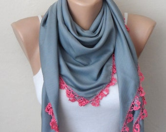 gray scarf pink scarf cotton scarf turkish yemeni oya scarf womans scarf trendy accesories gift for her