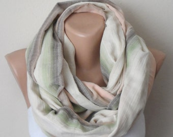 cream infinity scarf green brown yellow cotton loop scarf