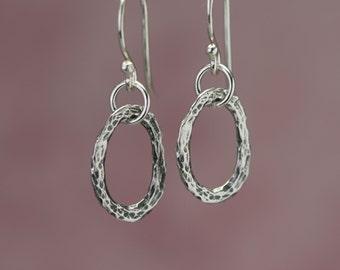 Simple Sterling Silver Earrings – Dangle Sterling Silver Earrings – Silver Organic Earrings – Rustic Earrings – Sterling Dangle Earrings