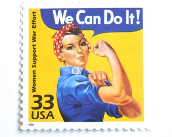 5 Rosie the Riveter Postage Stamps // We Can Do It! // Vintage WWII Poster Postage Stamps for Mailing