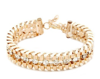 Fashionable Gold & White Multilayer Stackable Braided Bracelet | Woven Shiny Braid Crystal Bracelet For Teens and Women