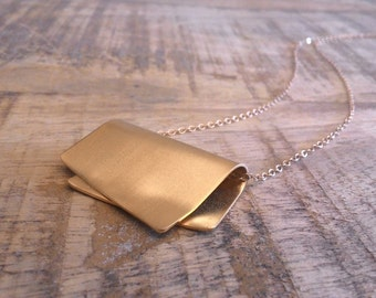 Pendant Gold Necklace, Gold Pendant, Modern Pendant Necklace, Boho Chic Gold Pendant Necklace