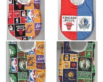 Handmade House Divided Baby Bibs made with NBA fabric