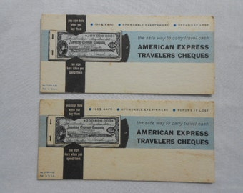 "Vintage Advertising Ink Blotters for "" American Express Travelers Cheques """