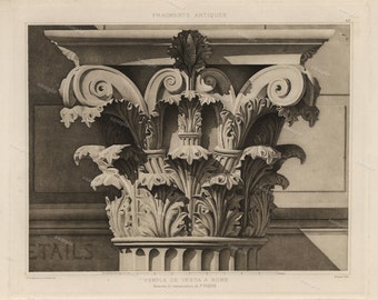 Antique Original Prints of Architectural Elements From Fragments D'Architecture-  Colonne  Trajane  Rome 1905 D'Espouy,