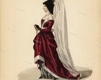 19th Century Hand colored Costume Engraving Galerie française de femmes célèbres Decorative art wall art Women French Costume large print