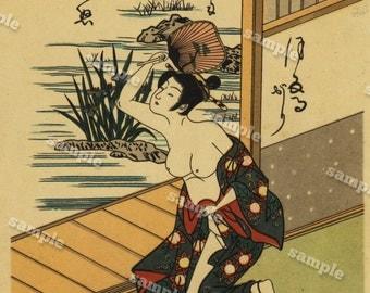 Miniature Japanese Wood Block Prints  original Art decorative art 5x7 inches Hand colored Japanese Beauties