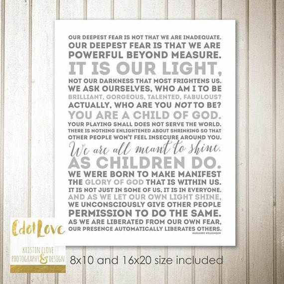 We Fear What We Don T Understand Quote: Our Deepest Fear Marianne WIlliamson Quote Child Of God