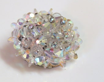 Faceted AB Crystal Beads Brooch Cluster Rhinestone - Wedding jewelry
