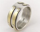 Mens silver gold wedding ring-14k gold ring,mens engagement ring,industrial ring,handmade ring,mixed metal ring