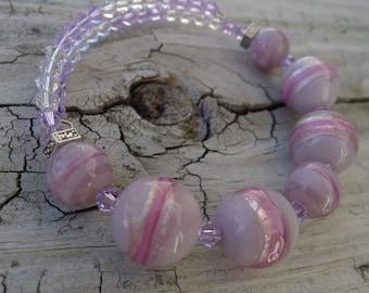 Swarovski and Purple Glass Beaded Memory Wire Bracelet
