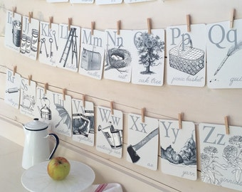 Vintage Farmhouse Style Flashcards A-Z