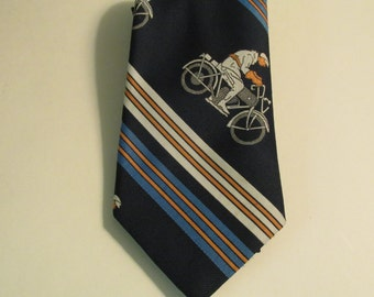 Rare Vintage Man on a Motorcycle Necktie Tie - Sears The Men's Store - 100% Polyester
