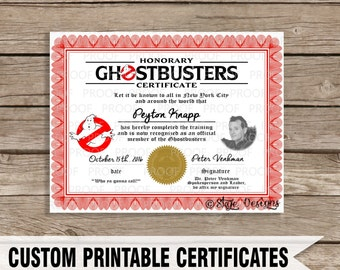 Custom Ghostbusters Themed Certificate Printable [INSTANT DOWNLOAD]