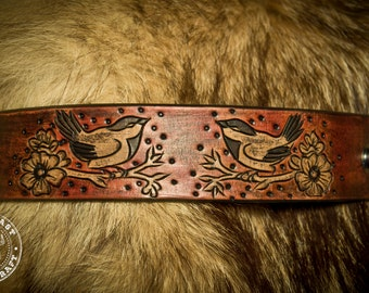 Chickadee Songbird Leather Bracelet