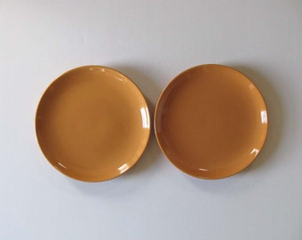 Pair Russel Wright Iroquois Casual China Cantaloupe Dinner Plates - 1950s