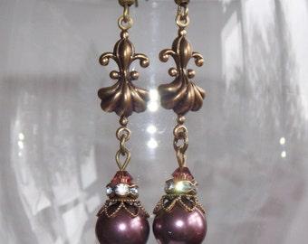 Swarovski Pearl Drop Earrings, Plum Earrings, Victorian Style Earrings, Boho Earrings, Vintage Earrings, Handmade Earrings